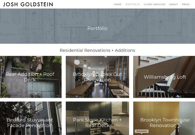 architect portfolio website page